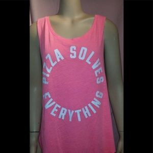 Pizza solves everything Pink Tank top